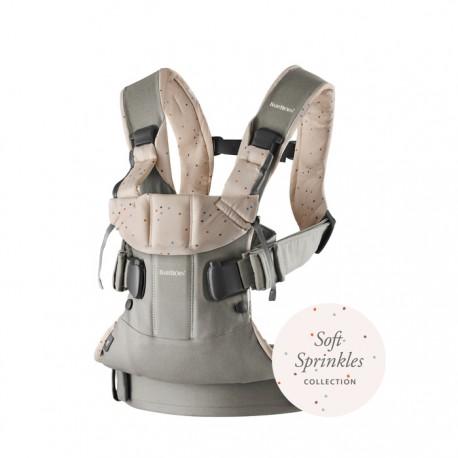 Marsupiu anatomic BabyBjorn One cu pozitii multiple de purtare Classic Grey - Pink Sprinckles Bumbac